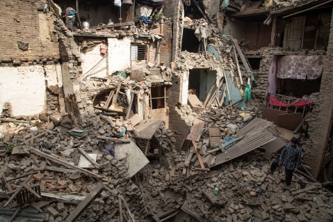 Many houses, buildings and temples in the capital were destroyed during the earthquake, leaving thousands dead or trapped under the debris as emergency rescue workers attempt to clear debris and find survivors.