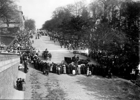 The funeral procession of John Jacob Astor IV, who died in the sinking of the RMS Titanic, enters Trinity Church Cemetery in upper Manhattan in this May 1912 photo.